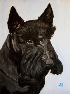 Painting of a dog. Description follows in caption.