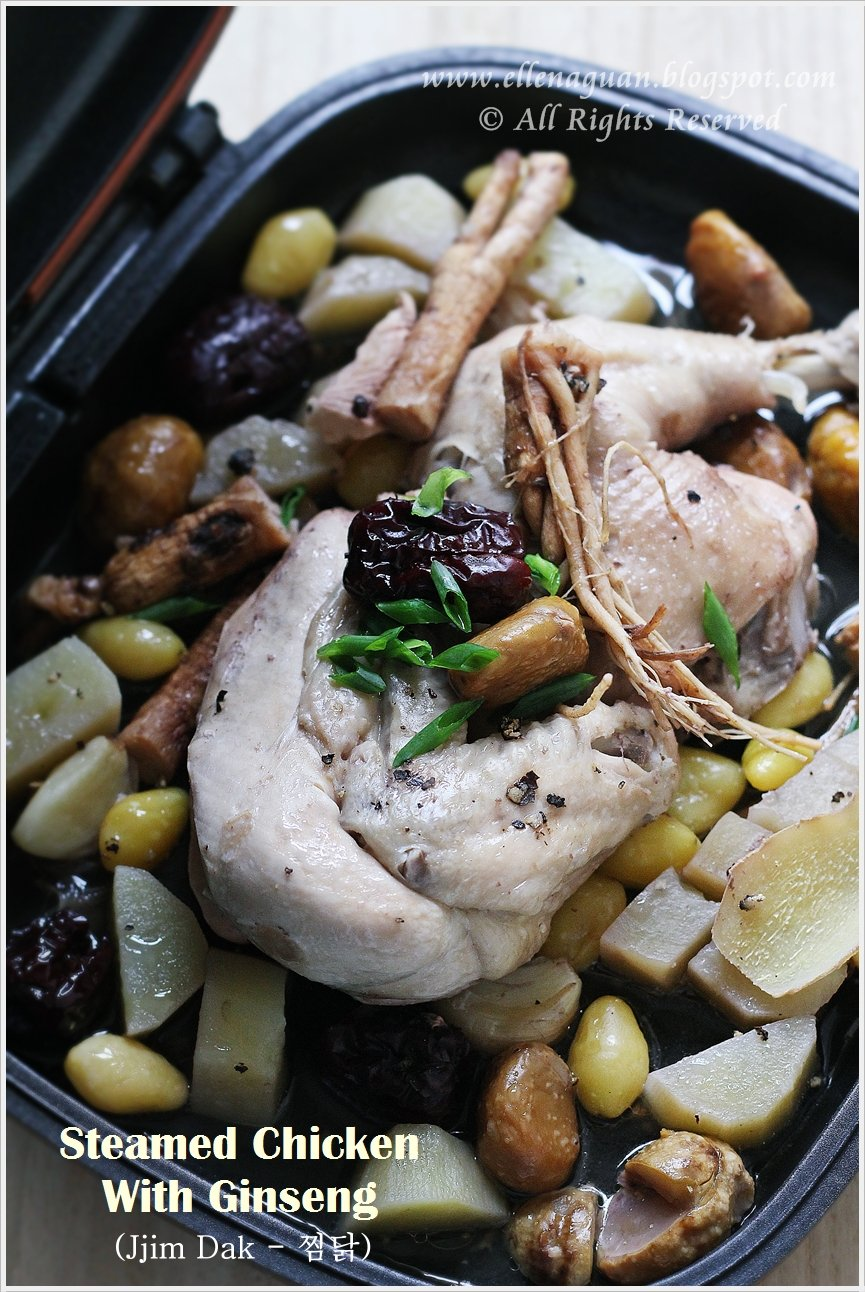 Cuisine paradise singapore food blog recipes reviews and travel steamed chicken with ginseng jjim dak using happy call pan forumfinder Image collections