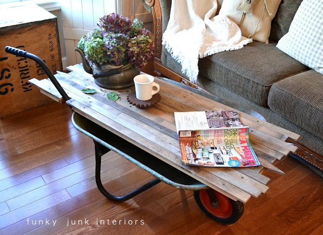 reclaimed lumber wheelbarrow coffee table Funky Junk Interiors