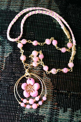 Golden Spring ~ ooak necklace: polymer clay art bead, brass, jade, seed beads, 4-thread brais, wire wrapping :: All Pretty Things