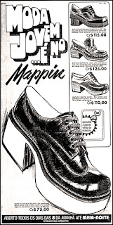 Loja Mappin, sapato masculino década de 70, moda anos 70; propaganda anos 70; história da década de 70; reclames anos 70; brazil in the 70s; Oswaldo Hernandez
