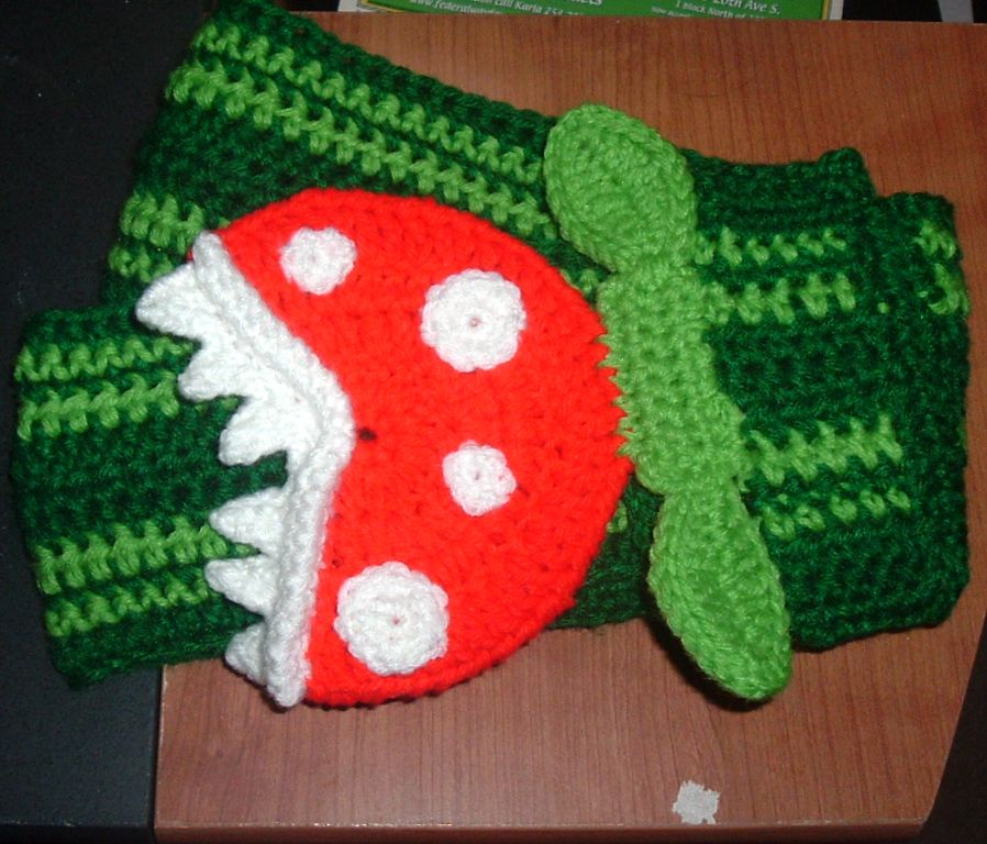 Nanette Crochet Piranha Plant Scarf And Hat Set With Pattern