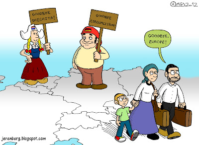 national personifications holland netherlands dutch girl germany deutscher michel holding signs goodbye shechita goodbye circumcision jewish family mother father child son walking away moving leaving goodbye europe