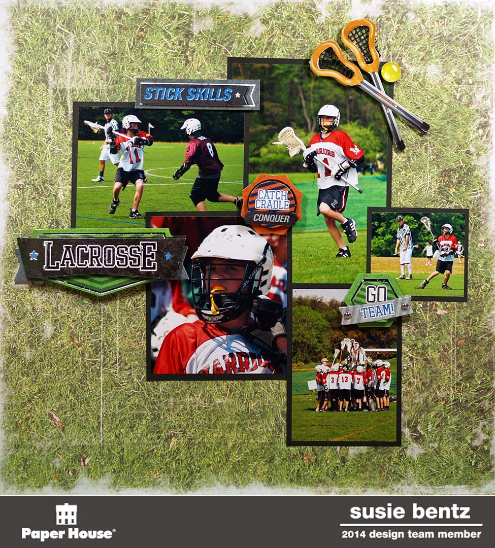 Scrapbook paper and stickers - I Started With The Distressed Grass Scrapbook Paper It Is A Favorite Of Mine For All Of My Sports Pages I Cropped My Photos And Mounted Them On Black