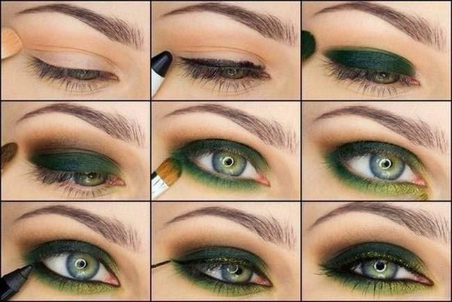 Серо зеленые глаза тенями пошагово