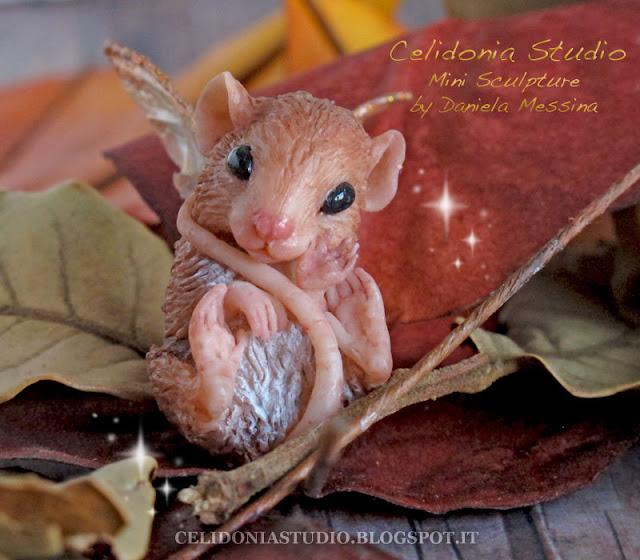 OOAK Fairy Mouse - Polymer Clay Mini Sculpture by Celidonia - Daniela Messina