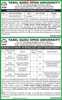 TNOU Chennai Librarian and Associate Professor Recruitments 2015 : Tamil Nadu Open University Employment Notification for Teaching Posts