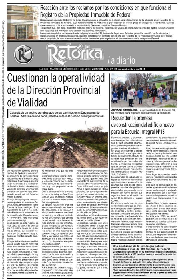 RETÓRICA 20-9-2019 EDICIÓN IMPRESA