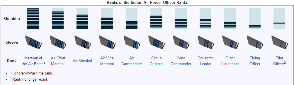 SHOULDER AND SLEEVE INSIGNIA USED IN INDIAN AIR FORCE IAF