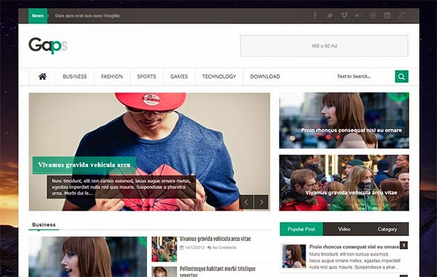 Gaps Responsive Blogger Template