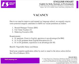 Lowongan Kerja Terbaru English Smart Bandarjaya Lampung Tengah