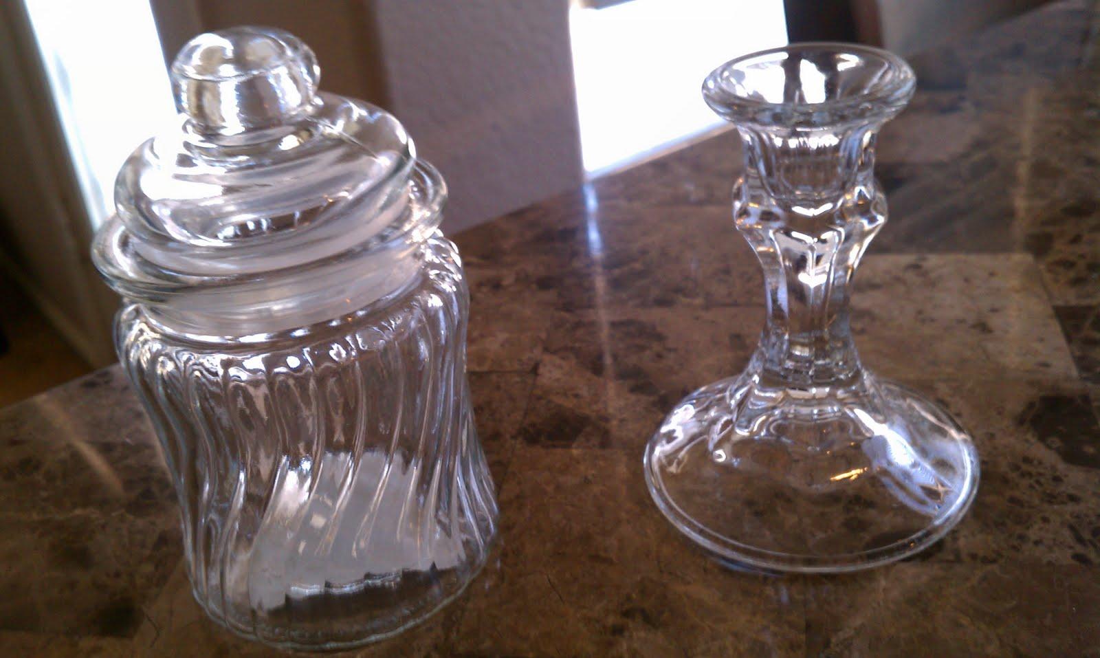 Jar and candle stick holder form the dollar store each specimen jar