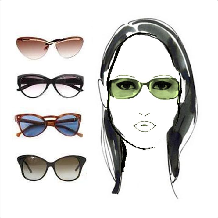Kacamata untuk wajah berbentuk berlian [diamond]