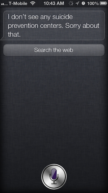 Siri looks for local suicide prevention centers if you choose not to call the hotline.