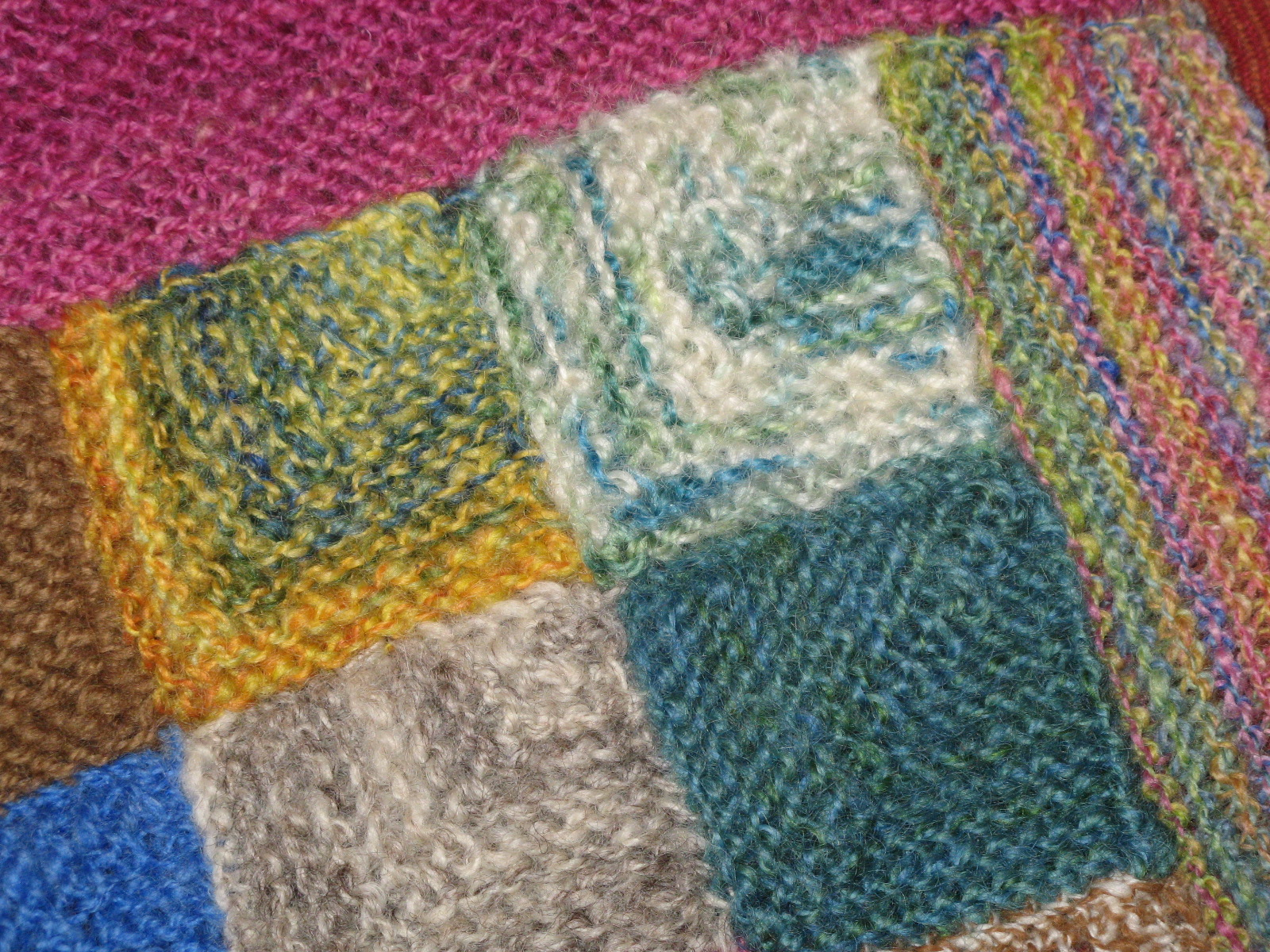 Blanket Stitch Knitted Squares Together : Spin and Knit: Mitre Sample Blanket to be.