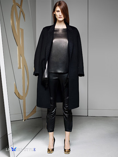 fashion, designer, Yves Saint Laurent, collection, photos, look book, leather blouse, leather pants, gloves
