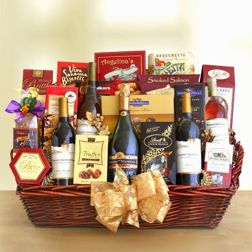 La Bella Baskets Red Wine & White Wine Gift Baskets Gourmet Deluxe