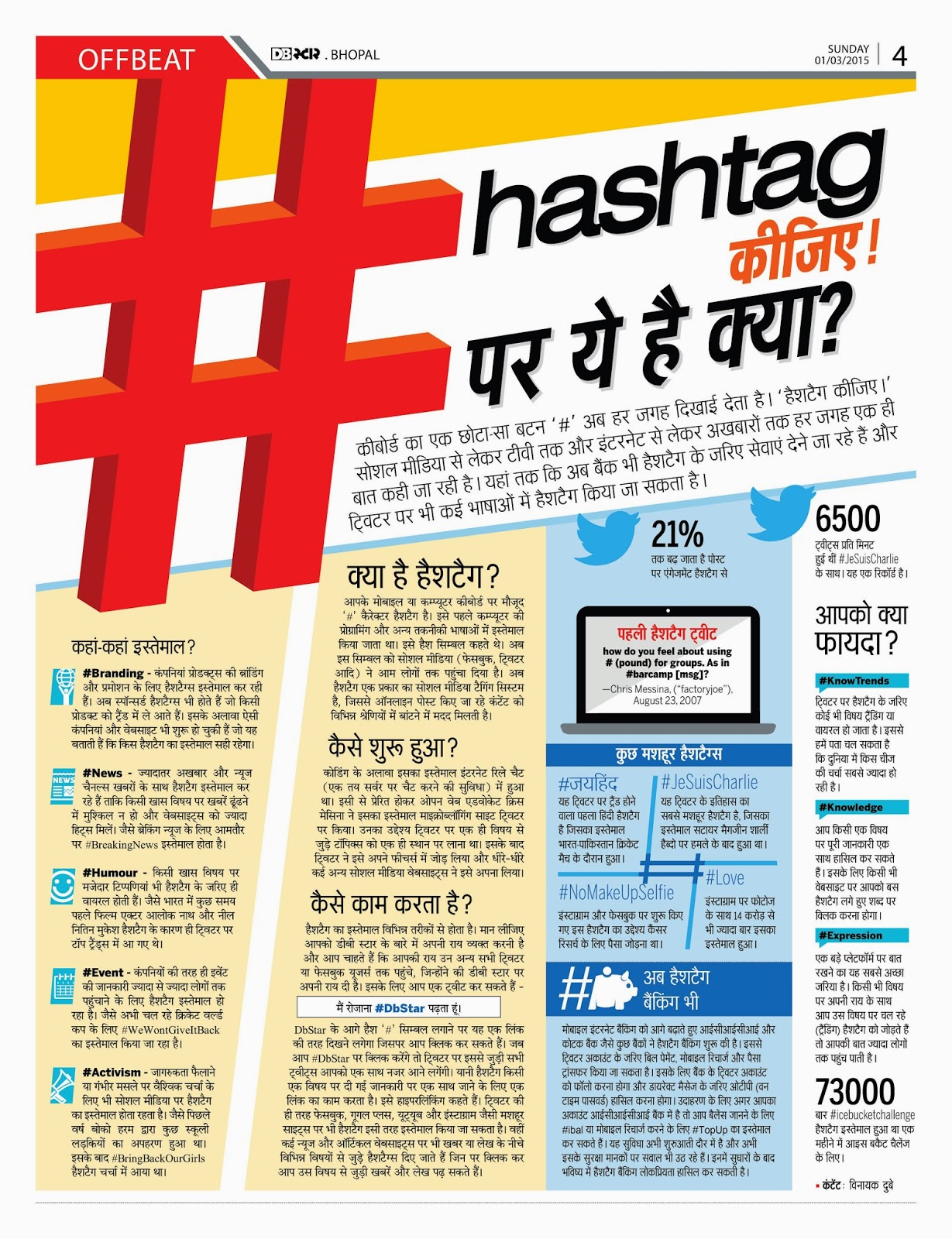 how to use hashtags in hindi