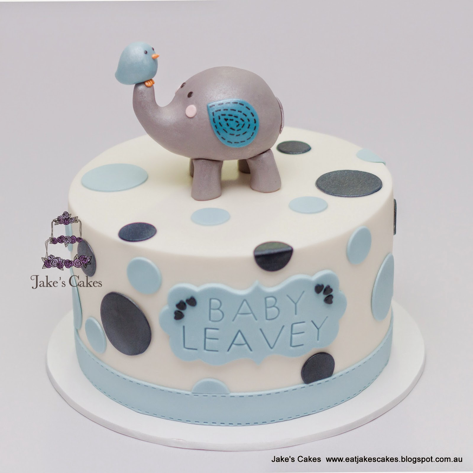 Jake s Cakes Cute Elephant Baby Shower Cake