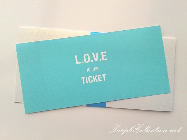 turquoise white concert ticket wedding boarding pass cards