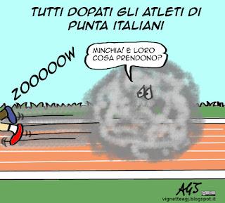 doping, atletica, satira vignetta