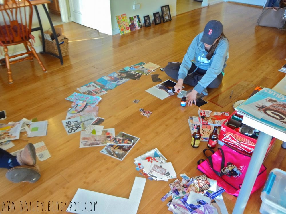 Craft Club: Sorting through magazines and glueing collages