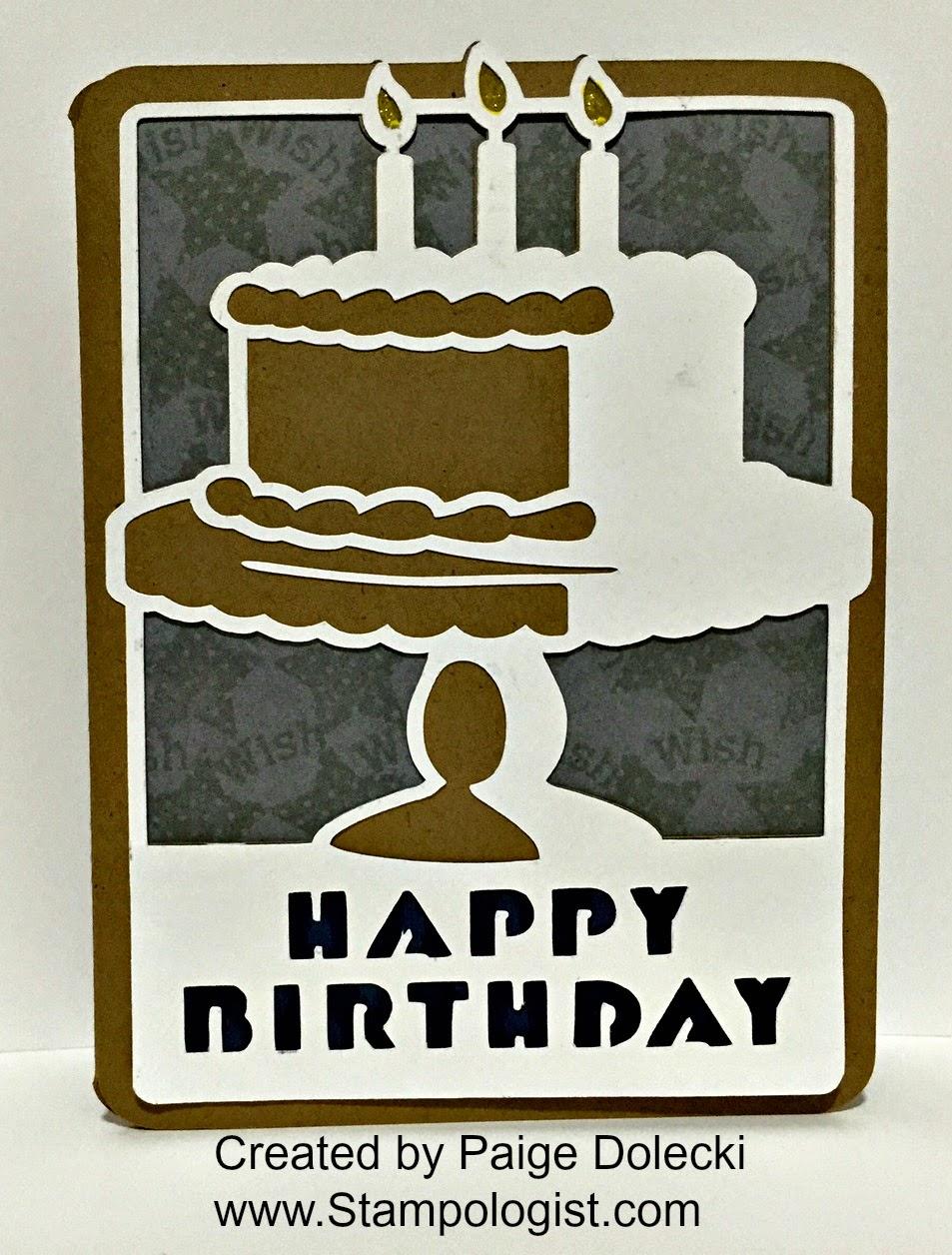 Paige Dolecki Stampologist Masculine Birthday Cake Card