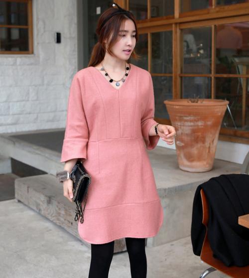 Textured Pink Shift Dress