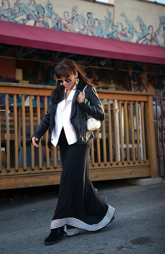 Maxi dress with biker boots