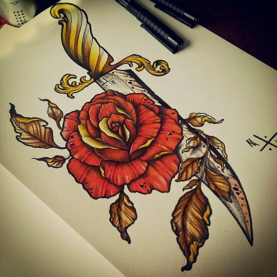 Dagger-Rose-tattoo