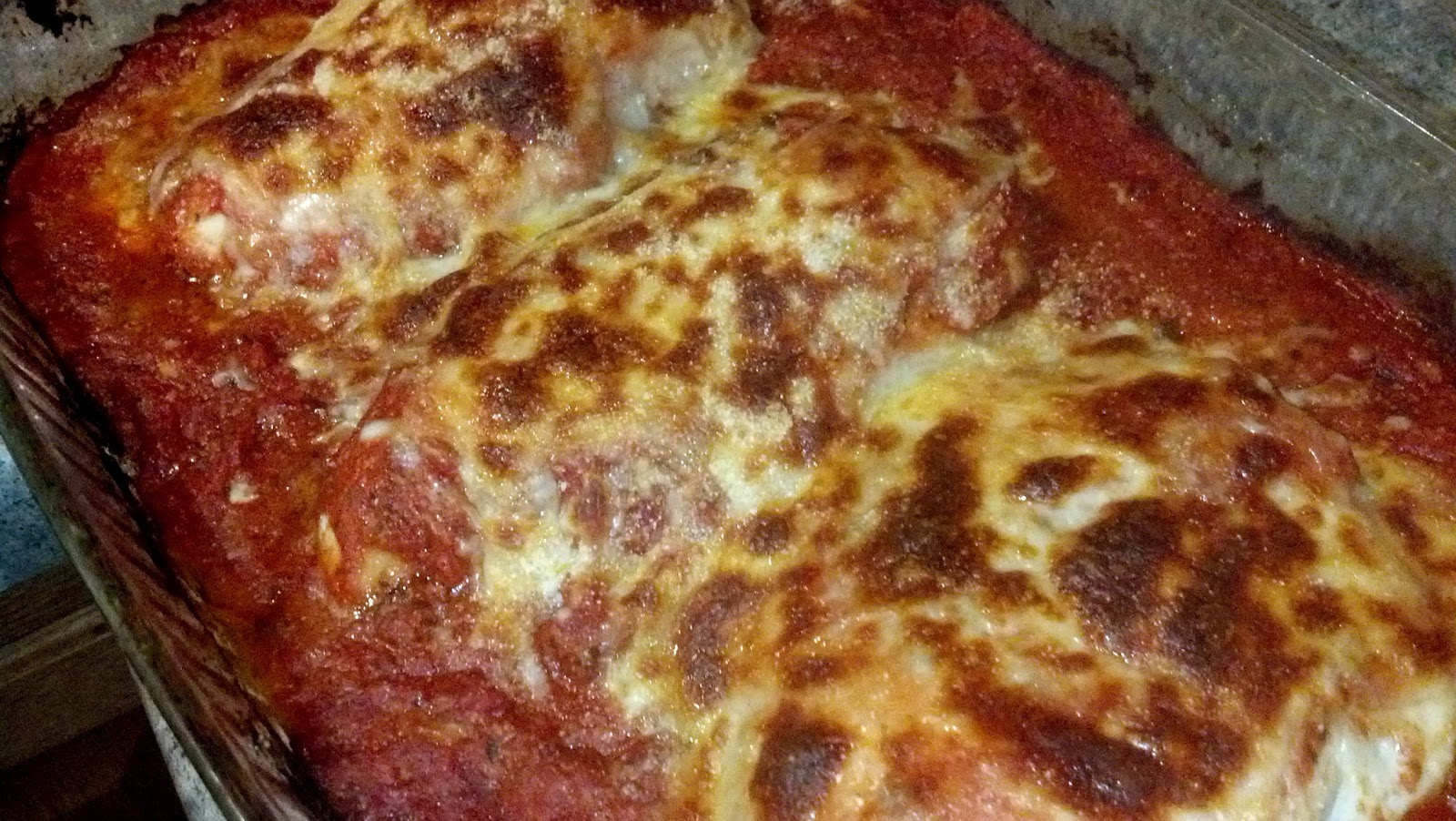 super easy, low-fat, baked chicken parm