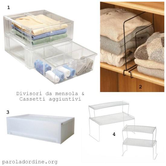 paroladordine-da avere-armadio-divisori da mensole e cassetti aggiuntivi