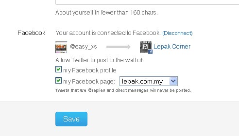 how to connect my twitter to facebook page