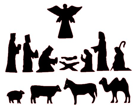 Striking image throughout free printable silhouette of nativity scene