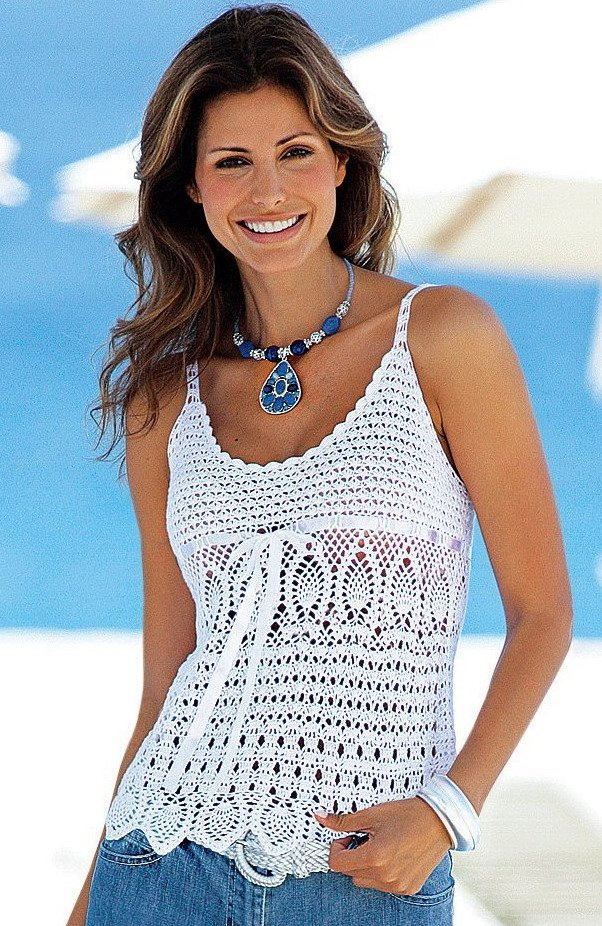 Free Crochet Patterns For Women s Shell Tops : Crochetemoda Blog: Regatas/tops brancos de crochet