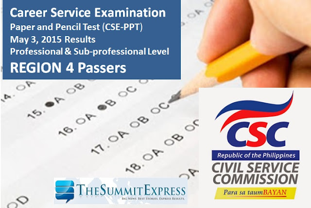 List of Passers: May 2015 Civil service exam (CSE-PPT) results Region 4