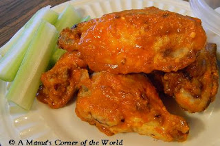 Garlic Parmesan Buffalo Chicken Wings with no butter or breading from A Mama's Corner of the World
