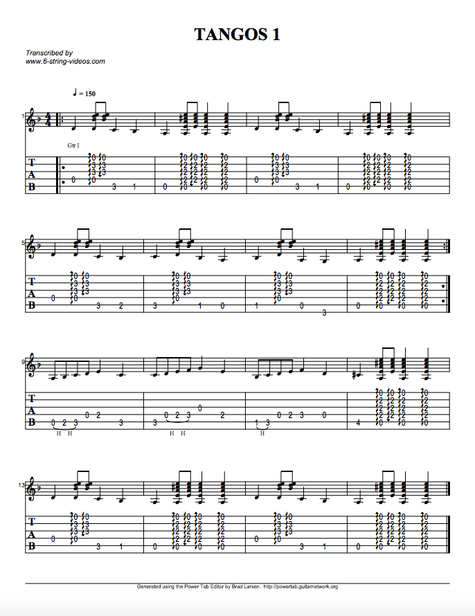 Guitar Tabs: Tabs For: Tangos 1