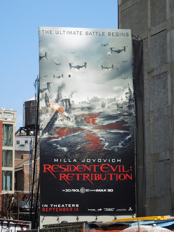 Resident Evil Retribution movie billboard NYC