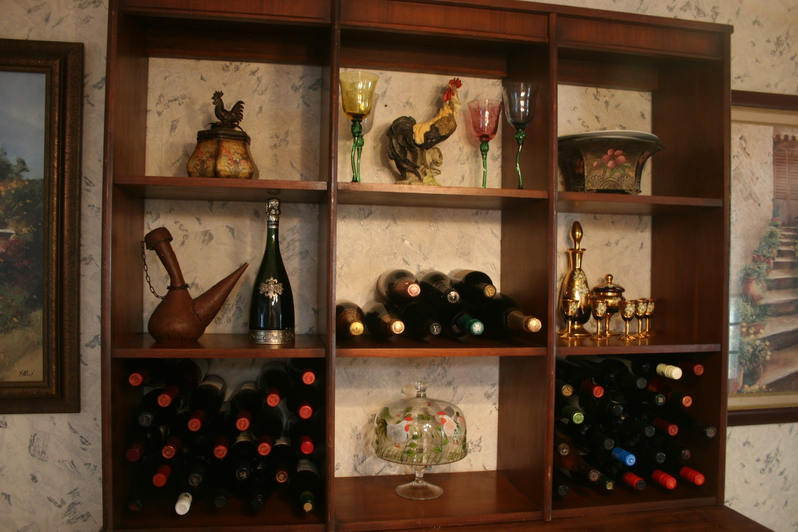 ... : Repurposed Sideboard and shelf unit = china wine and glass cabinet