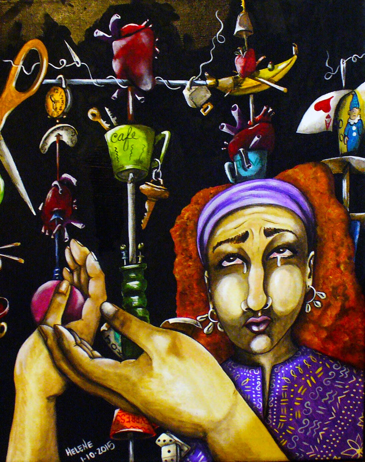 Hands reaching up in busy background seeming to juggle or grasp for many cluttered objects lady looking up sadly black background acrylic painting