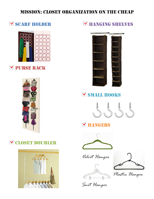 Closet Organization Checklist, Cheap Organization ideas, Inexpensive Closet Storage