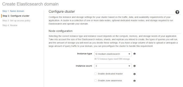 Set ElasticSearch Cluster Dimension in AWS