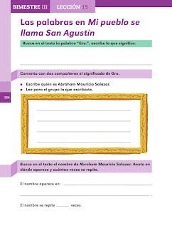 Apoyo Primaria Español 2do grado Bloque 3 lección 15 Las palabras en Mi pueblo se llama San Agustín