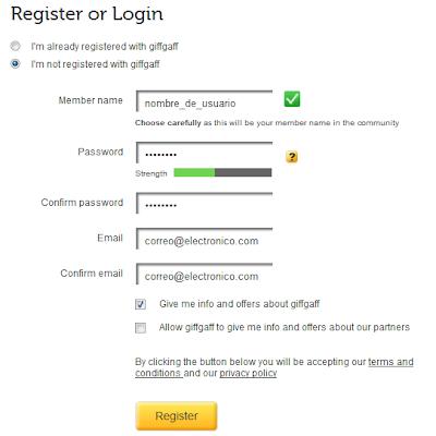 Pedir targeta del movil antes de viajar Giffgaff+register