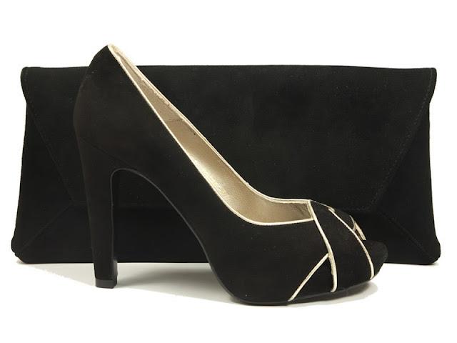 bolso y zapato en ante negro