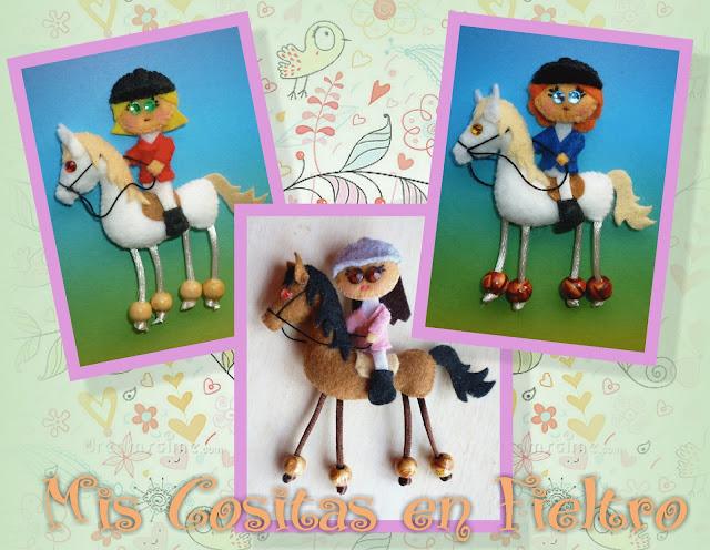 broche, fieltro, amazona, caballo, jinete, ginete