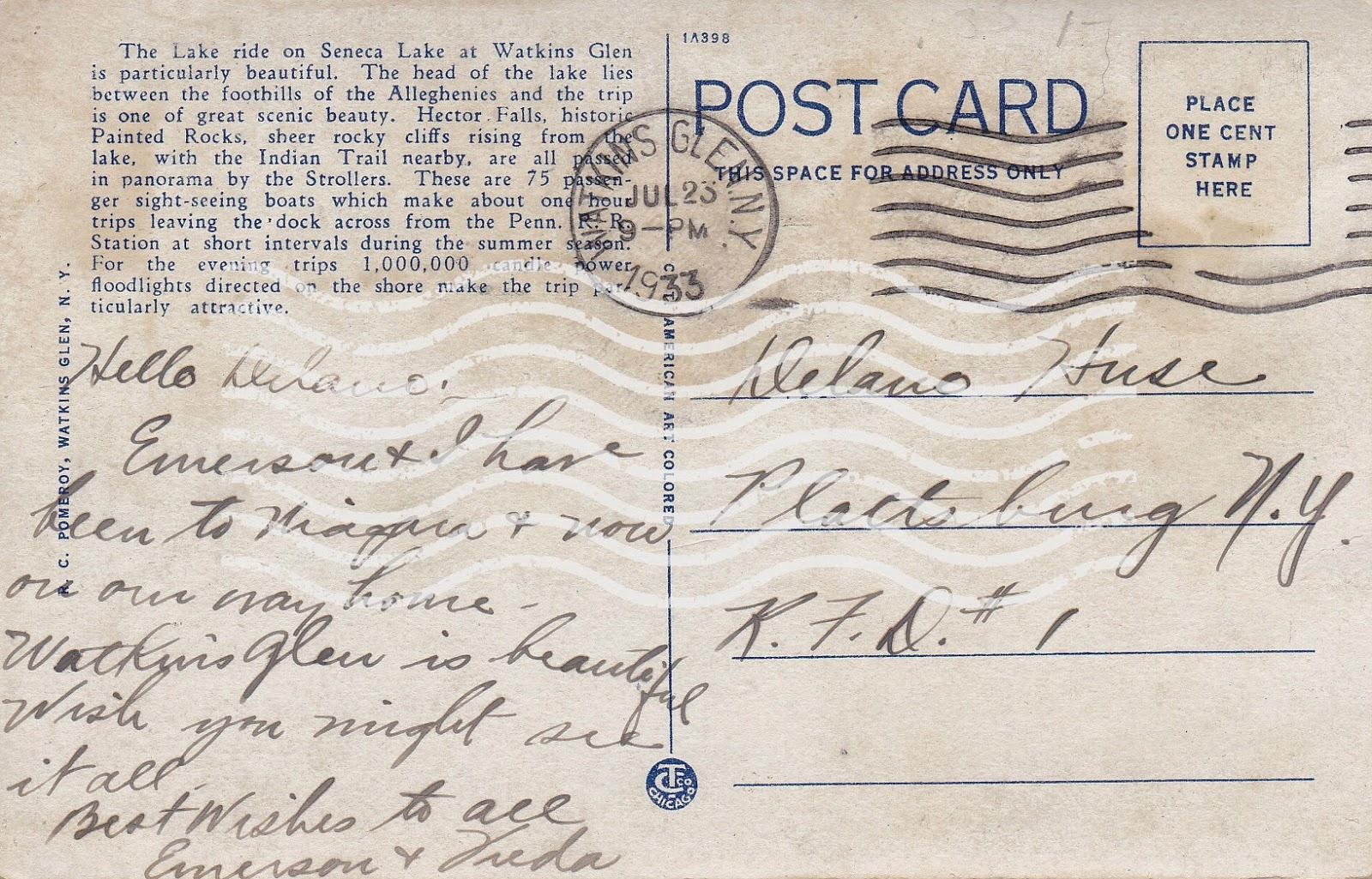 Vintage postcard - Stroller on Seneca Lake at Watkins Glen, NY (back with message)
