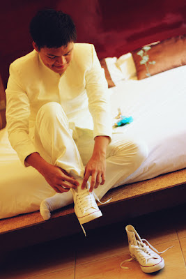 wedding at Bali-bali, Samal - groom wearing shoes