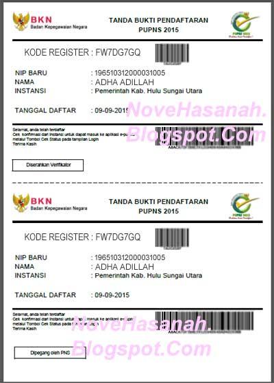 tanda bukti Cara Registrasi PUPNS 2015 di BKN Secara Online